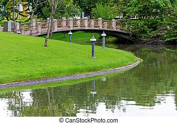 Cement bridges and walkway for exercise with trees in park