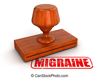 Rubber Stamp migraine Image with clipping path