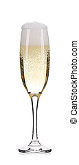 Glass of fresh champagne Isolated on a white background