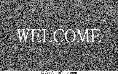 Welcome title on the gray plastic doormat for texture...