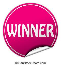 winner round pink sticker on white background
