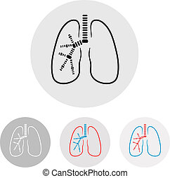 Human lungs symbol - vector illustration, clinic label
