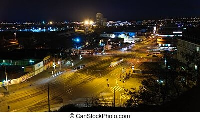 Timelapse night city junction - Time lapse video of a city...