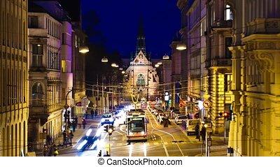 Timelapse night street in Central E