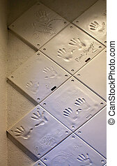 Handprints - RENO, NEVADA - SEPTEMBER 19: Handprints on the...