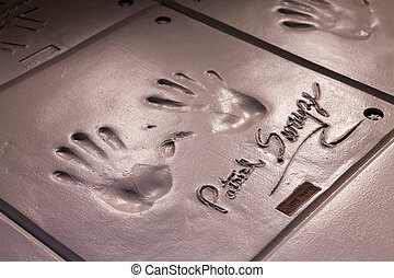 Handprints of Patrick Swayze - RENO, NEVADA - SEPTEMBER 19:...