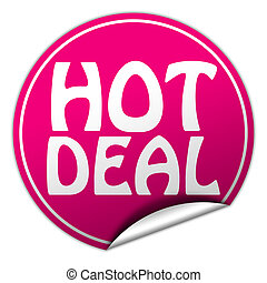 hot deal round pink sticker on white background