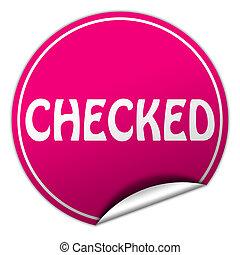 checked round pink sticker on white background