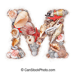 Letter M made of seashell isolated on white background