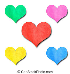 colorfl paper hearts shape isolated on white