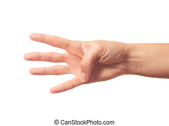 Human hand showing four fingers