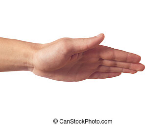 Human hand with palm down isolated