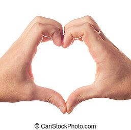 coeur, projection, deux, mains