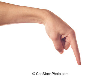 One human hand pointing down