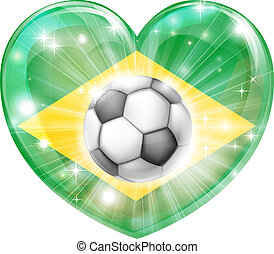 Brazil soccer heart flag - Brazil soccer football ball flag...