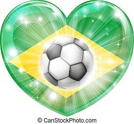 Brazil soccer heart flag - Brazil soccer football ball flag...