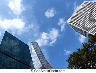 Midtown Manhattan highrise buildings as seen from Bryant Park, New York City