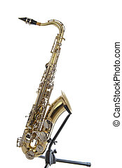 Golden tenor sax with silver valves - Brass tenor saxophone...