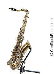 Golden tenor sax with silver valves - Brass tenor saxophone...