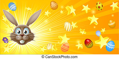 Easter bunny and eggs banner background with the Easter...