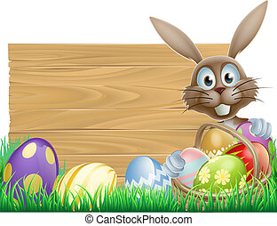 Happy Easter bunny and wooden sign