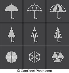 Vector black umbrella icons set