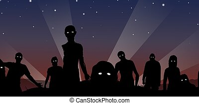 Zombies at midnight - Illustration of a crowd of Zombies...