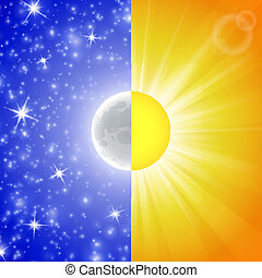 Day and night. Vector illustration of a Split-screen Showing...
