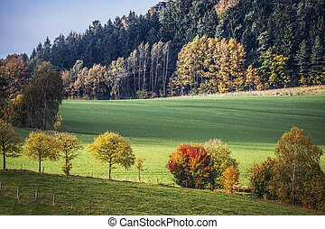 Saxon Switzerland autumn landscape - Landscape of Saxon...