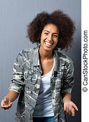 Trendy African American woman with an afro - Trendy young...