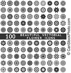 Beautiful abstract flower icons Vector illustration - 100...