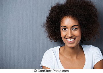 Portrait of a cheerful African American woman - Horizontal...