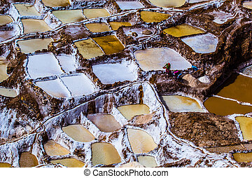 Peru, Salinas de Maras, Pre Inca traditional salt mine...