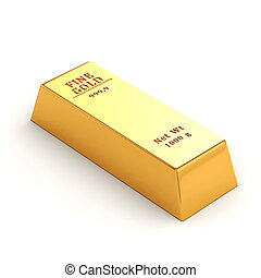 3d gold bar on white background