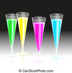 Fluorescent Champagne - Four glasses with fluorescent neon...