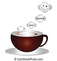 Good Morning - A cup of coffee illustration and smiling face...