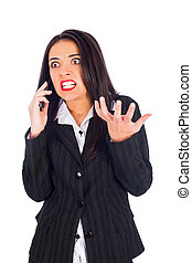 Hystecal Woman on Phone Yelling - Hysterical woman boss on...