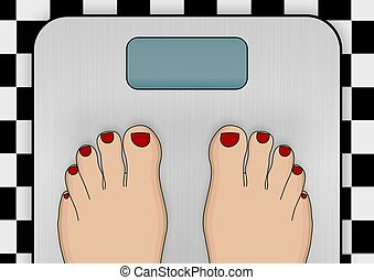 Weighing scales - Illustration of a pair of feet standing on...