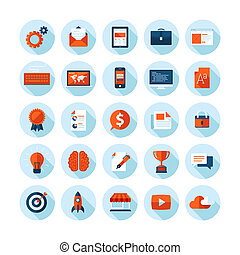 Flat design icons for web design