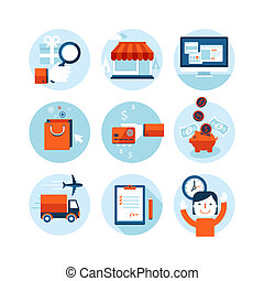Flat icons for online shopping - Set of modern flat design...