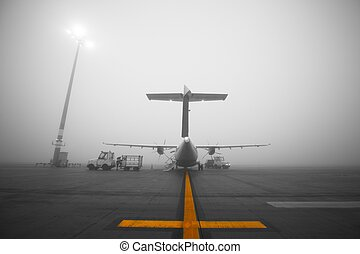 Fog at the airport - Fog at the airport. Preparation the...