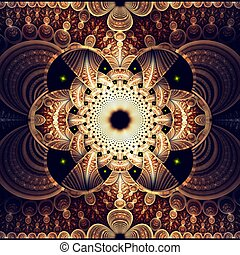 Symmetrical fractal flower, digital artwork for creative...
