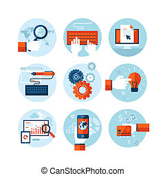 Flat design icons for web design - Set of modern flat design...