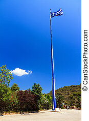 Big mast, small flag - View on the mast of the Biggest Greek...