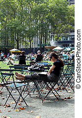 Bryant Park, New York City - NEW YORK -SEPTEMBER 03: People...