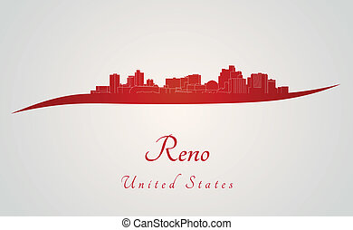 Reno skyline in red and gray background in editable vector...