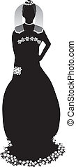 Bride silhouette - Beautiful bride black silhouette on white...