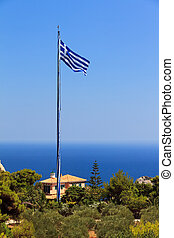 Biggest greek flag - View on the mast of the Biggest Greek...