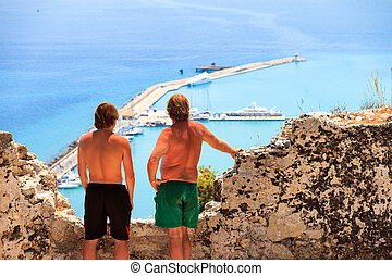 Zante lookout - Father and son looking at the harbor of...