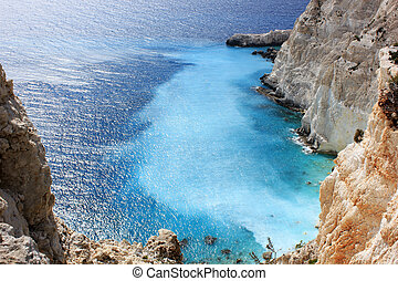 Plakaki, West side of Zante island - Azure color of Ionian...